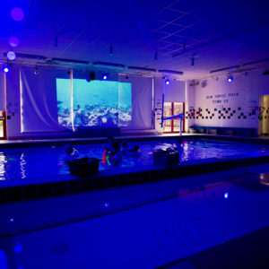 Sensory pool in blue lighting