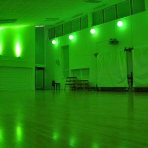 Sports hall in green light